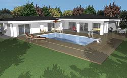 Architecte 3D Rendu de maison avec piscine
